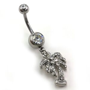 Details About Clear Tropical Palm Tree Dangle Banana Belly Barbell Button Navel Ring Body 316l