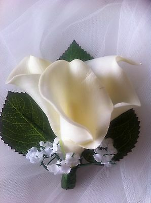 1 X CALLA LILLY WEDDING ARTIFICAL CORSAGE WITH 3 LILLYS AND GIP