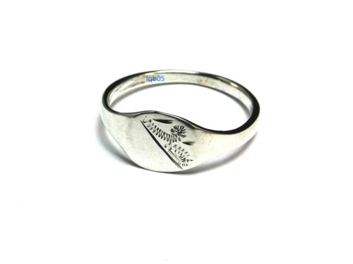 New Sterling Silver 8mm Engraved 1//2 Cushion Signet Ring 925 Hallmarked UK Sizes