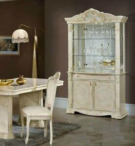 Image Is Loading Elizabeth Italian BEIGE Marble Pattern 2 Door Vetrine