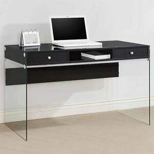 Modern Style Study Home Office Computer Desk Clear Glass Sides