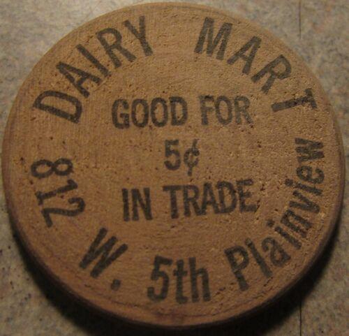 Token Texas Vintage Dairy Mart Plainview TX Wooden Nickel