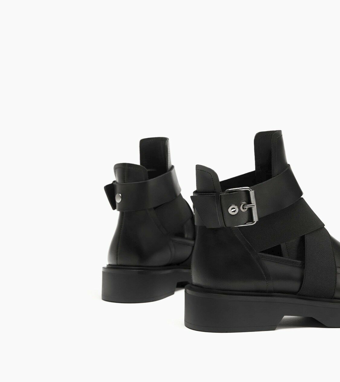 Zara Black Leather Ankle Boots With With With Opening Size EU 40 UK 7 US 9.5 Bnwt e29bfe