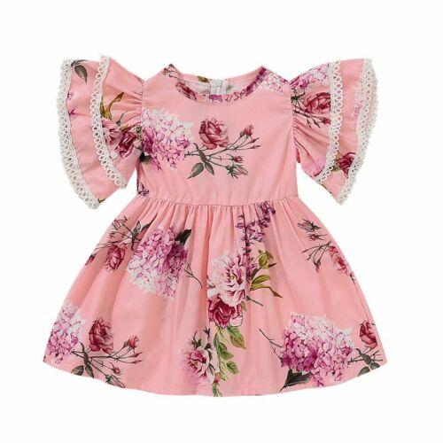 Girl Sister Matching Ruffles Princess Dress Floral T-shirt Top Bib Pant Outfits