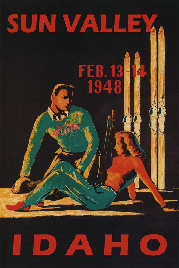 WINTER SPORT 1948 SUN VALLEY IDAHO COUPLE SKI TRAVEL SKIING VINTAGE POSTER REPRO