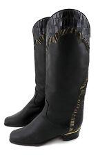 Brunella Stiefel 38 schwarz Schlüpfstiefel Leder vintage slouch