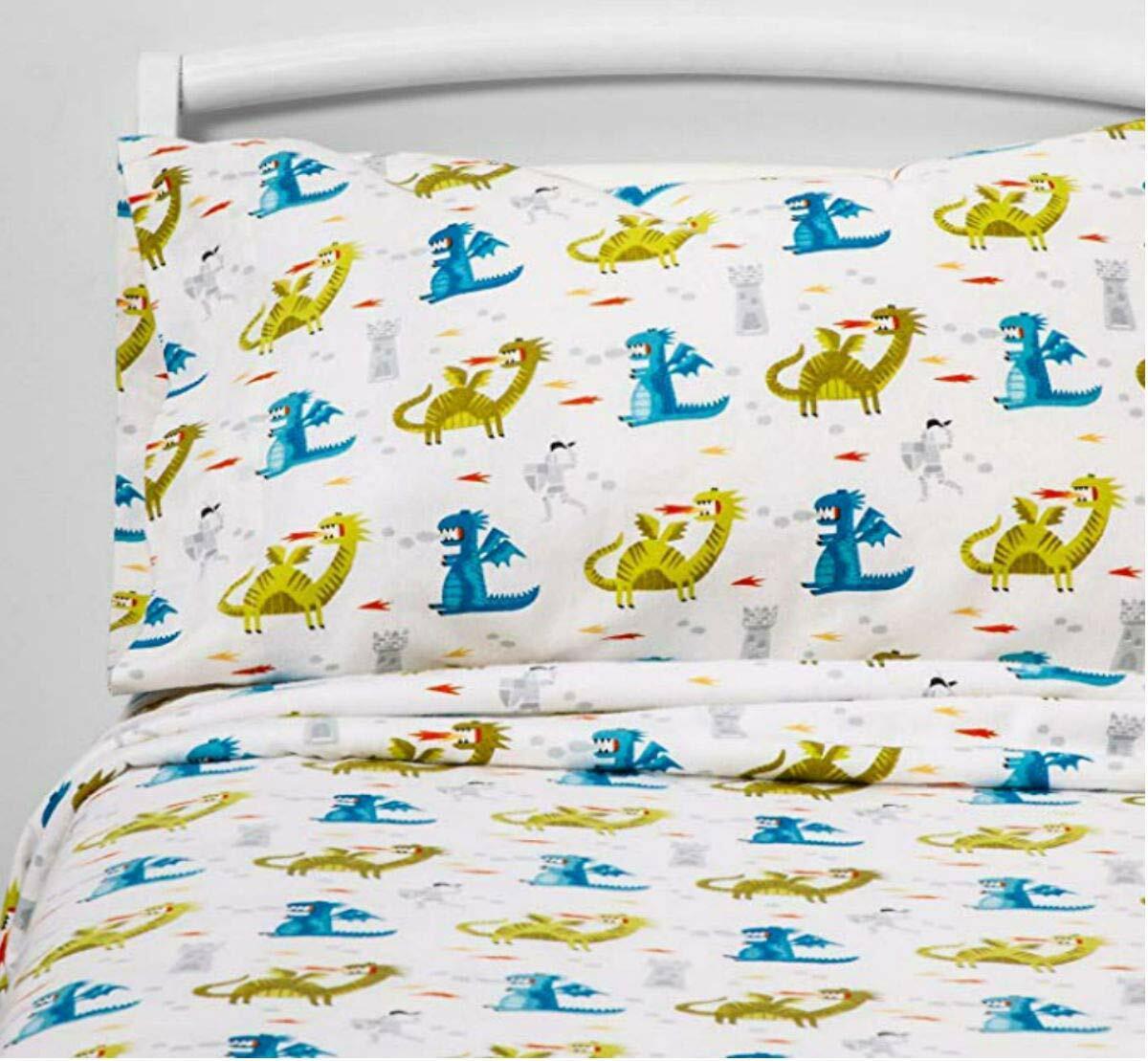 Pillowfort Dragon Design Knights Castle Flannel Sheet Queen For Sale Online