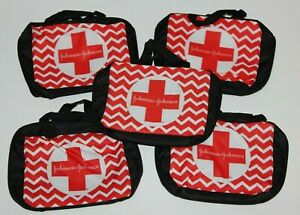 LOT (5) JOHNSON'S FIRST AID KIT BAG ONLY POUCH CAR CAMPING SCHOOL TRAVEL CHEVRON
