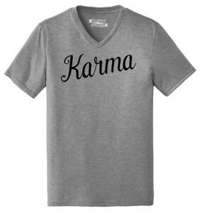 Mens-Karma-Triblend-V-Neck-Graphic-Shirt
