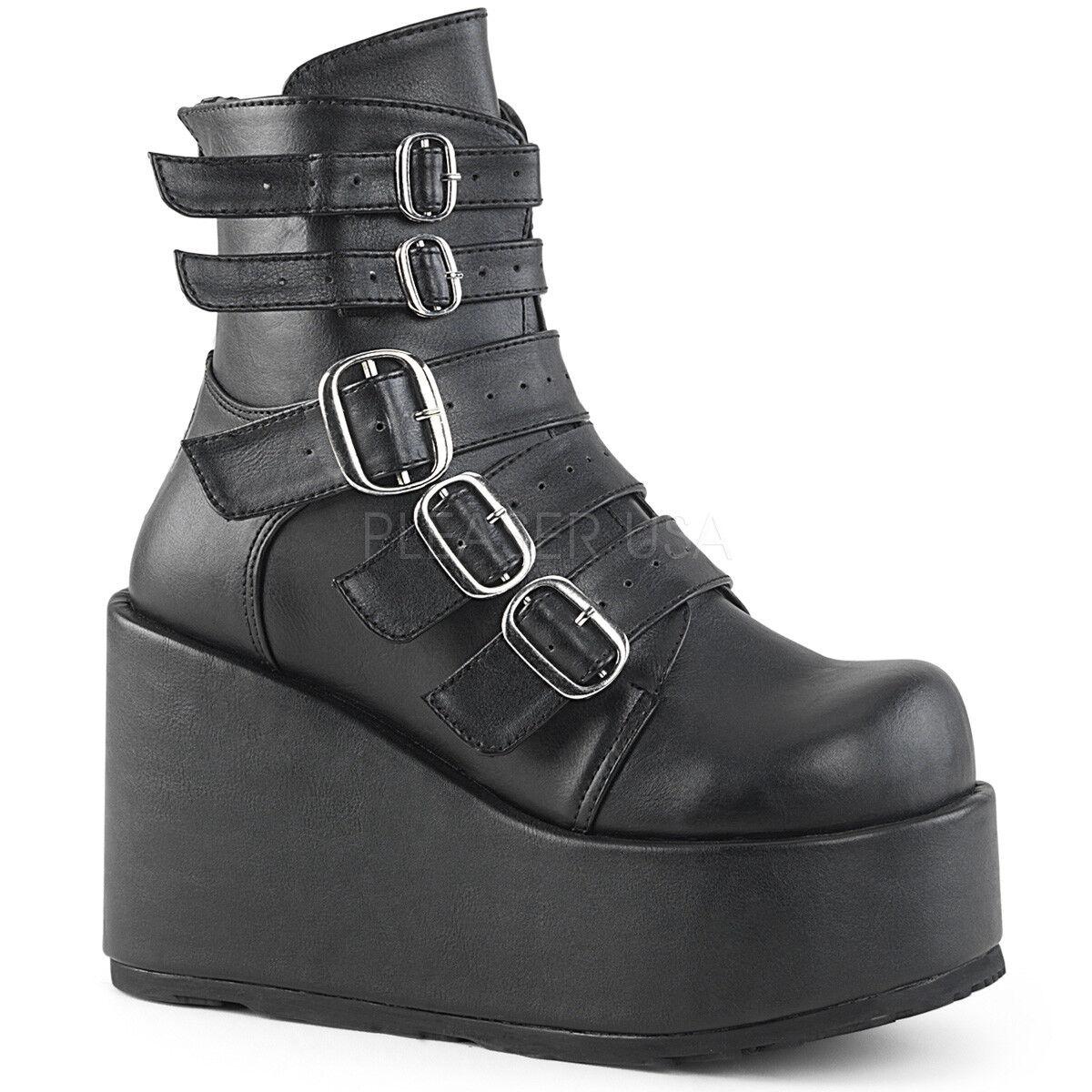 DEMONIA CON57/BVL Women's Goth Lolita Buckle Black Buckle Lolita Straps Platform Ankle Boots f78148