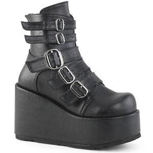 7e411b468eb Details about DEMONIA CON57/BVL Women's Goth Lolita Black Buckle Straps  Platform Ankle Boots
