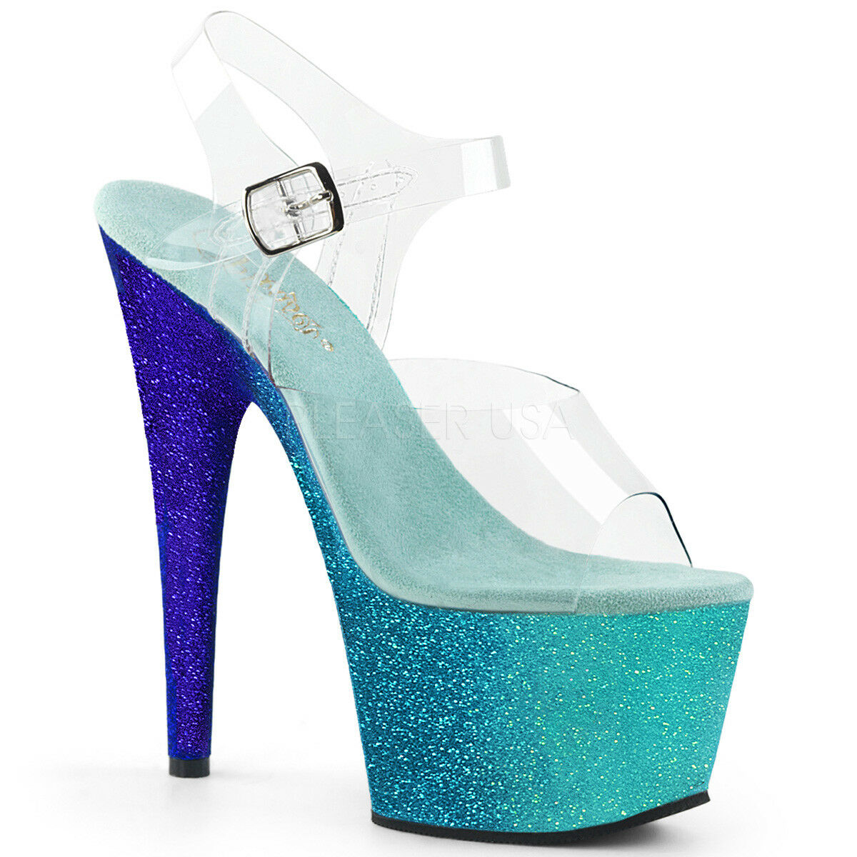 PLEASER ADORE 708OMBRE AQUA-Blau POLE DANCING STILETTO HEEL SANDALS Schuhe