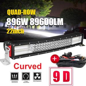 """9D+22""""Inch 896W Curved 4 Row Led Light Bar Spot Flood Combo UTE ATV 20"""" 32"""" 42"""""""