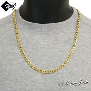 24 Quot Men S Stainless Steel 6mm Gold Cuban Curb Link Chain