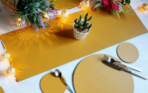 6 Coasters /& Runner Elementary Mustard Dining Table Set 6 Round Placemats