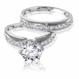 image is loading brilliant cut white sapphire engagement wedding genuine sterling - White Sapphire Wedding Ring Sets