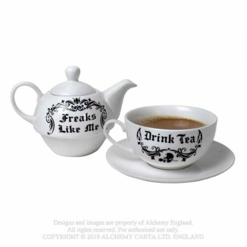 Tea For One Teapot Gift Set Alchemy Gothic Freaks Like Me Drink Tea Gothi...