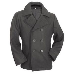 f2cc7385391f américaine Vintage BLEU MARINE CABAN Armée Manteau court veste noire ...