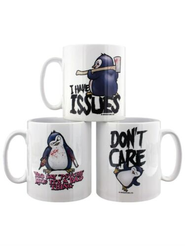 Set of 3 White Psycho Penguin Mug for Tea or Coffee Set