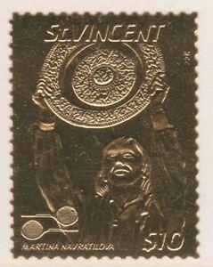 St-Vincent-4194-1987-TENNIS-Martina-Navratilova-GOLD-FOIL-unmounted-mint