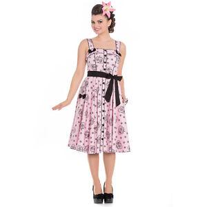 Hell-Bunny-Keepsake-Pink-Sugar-Skull-1950s-Vintage-Retro-Rockabilly-Party-Dress