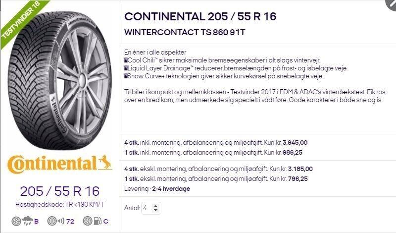 Vinterdæk, Continental, 205 / 55 / R16