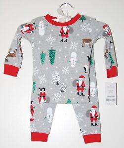 704d85820930 NWT Carter s Infant Boys 2pc Gray Santa Claus Snowman Holiday PJ ...