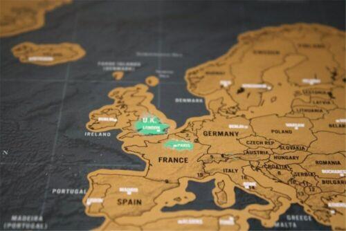 Carte du monde à gratter feuille d/'or et noir mappemonde