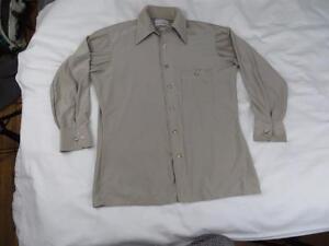 Vtg-70s-Arrow-Mens-Brown-Doubler-Rockabilly-MOD-Shirt-Size-15-5-Medium-Hipster
