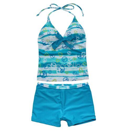 Kinder Mädchen Zweiteiliger Badeanzug Bademode Beach Tankini Set mit Panty Short