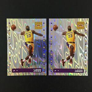 Lebron James Lot 2 Sticker NBA Panini 2019 2020 (19-20) #302 Foil... / European