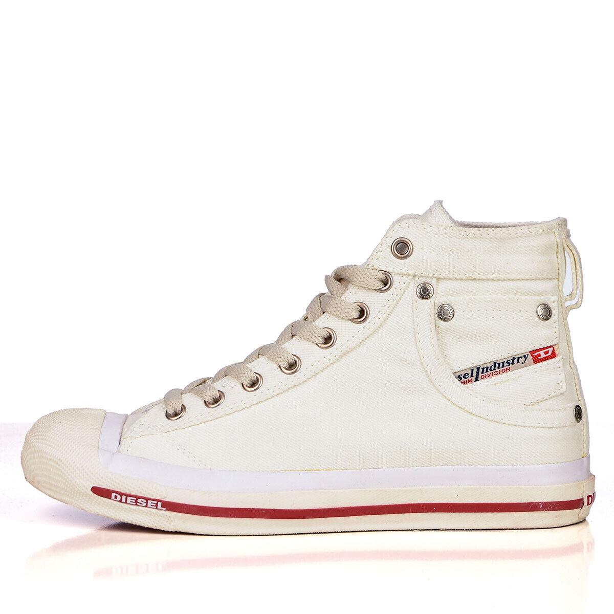 Diesel Magnete Exposure Damen High Turnschuhe Schuhe Bright Weiß Weiß Größe 39 40
