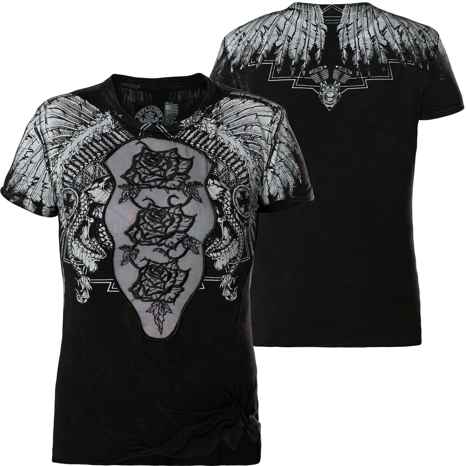 Affliction Donna T-Shirt Skull Crusher Nero