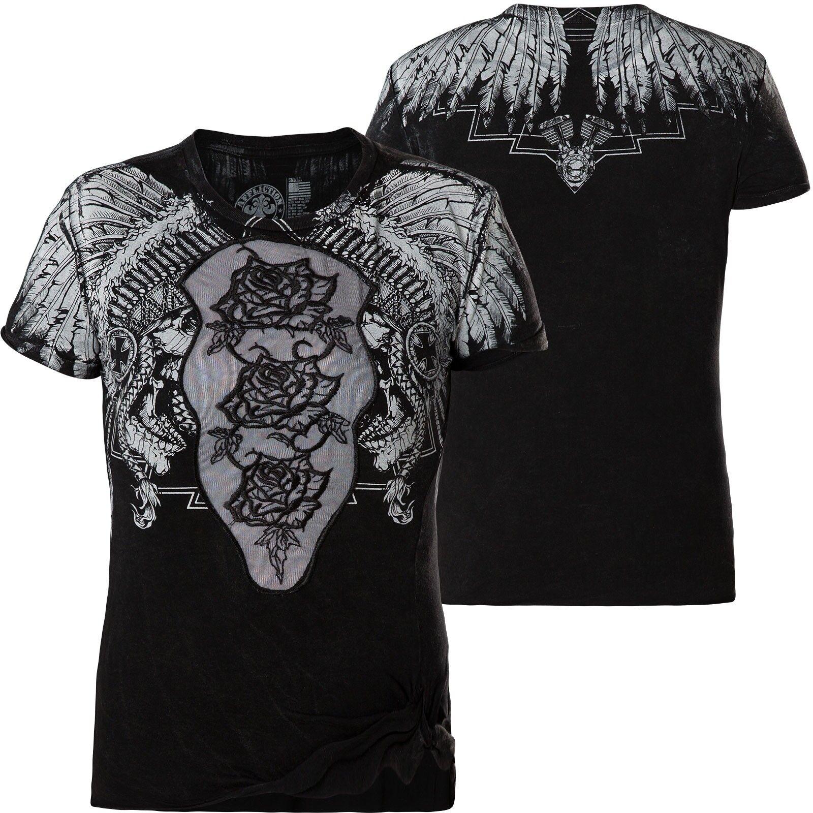 Affliction Donna T-Shirt Skull Crusher Nero