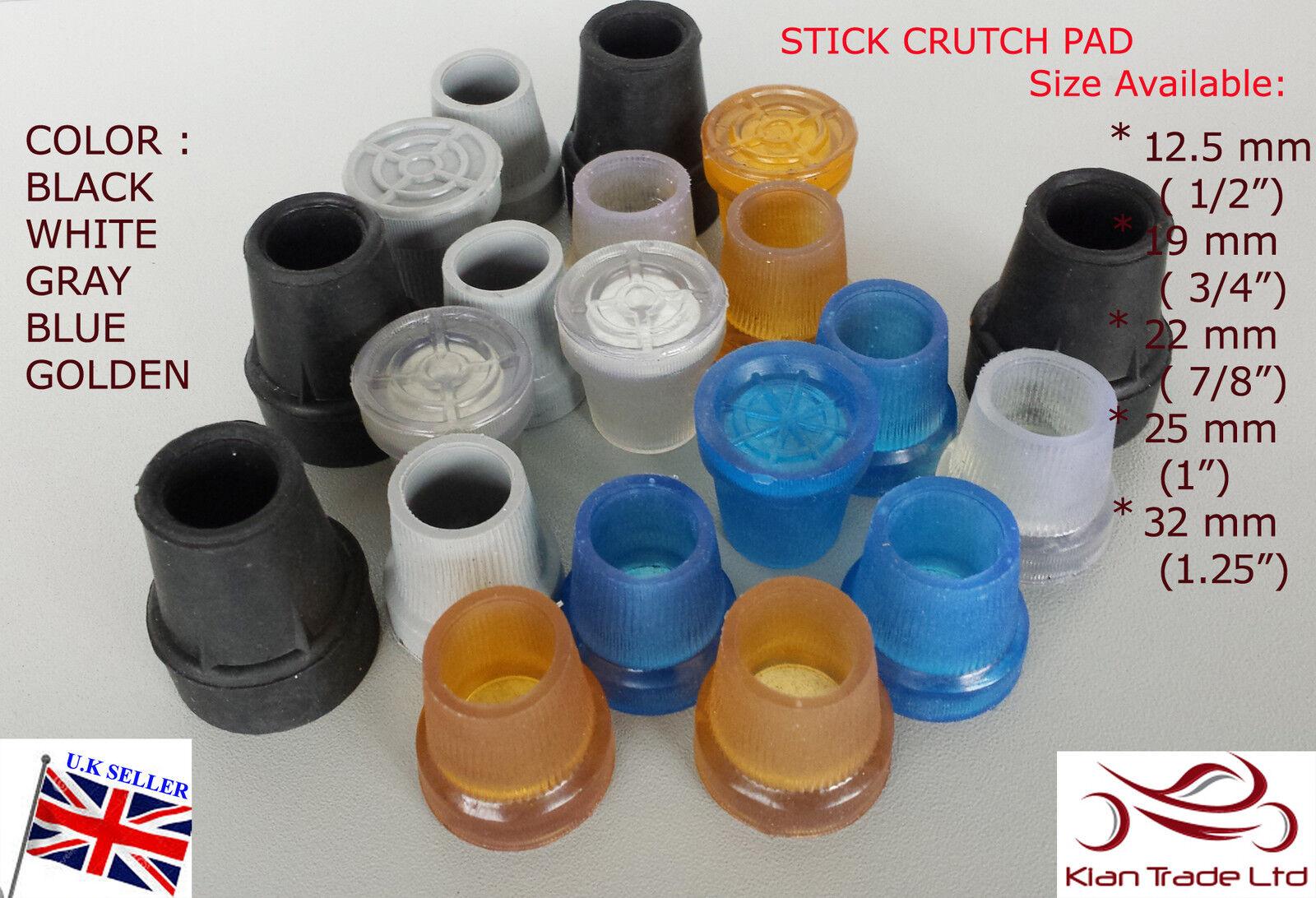 Walking Stick Cane Crutch Pad Rubber Heavy Duty Metal Ferrule End Bottom 22mm VV