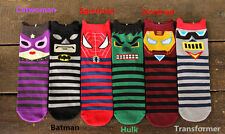6 Paia Calze Unisex Cartoon Super Eroe Hulk Spiderman Catwoman Batman Ironman