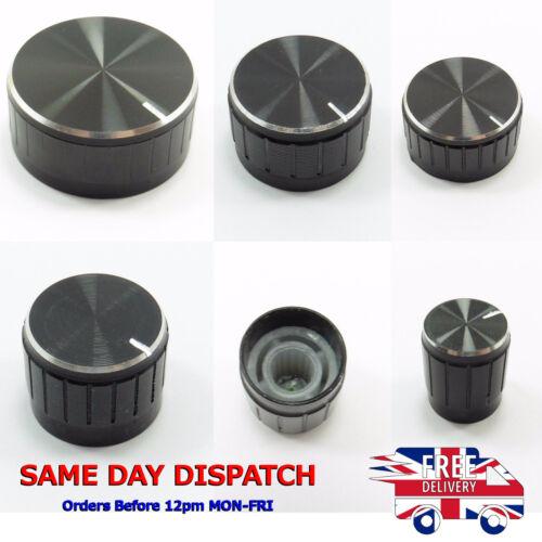 Potenciómetro de Aluminio Negro Tapas Moleteado Perilla de control de volumen para 6mm Agujero del eje
