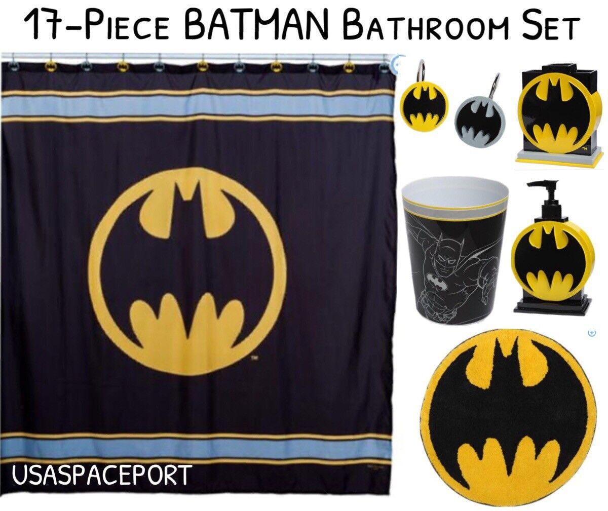 17pc BATMAN BATH SET Shower Curtain+Hooks+Rug+Pump+Toothbrush Holder+Wastebasket