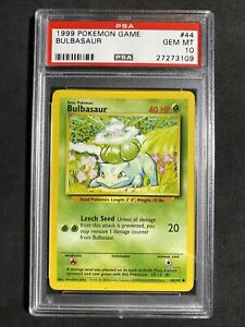 ?Pokemon PSA 10 Base Set Unlimited Non Holo Gem Mint Bulbasaur #44