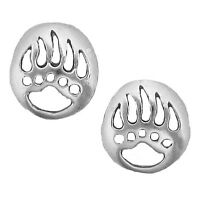 Sterling Silver 925 Grizzly Bear Paw Print Earring Hypo-allergy Quality Jewelry