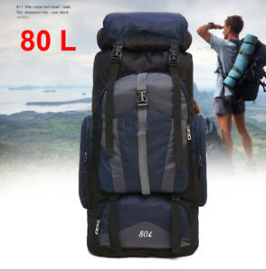 Image is loading 80L-Waterproof-Rucksack-Backpack-Luggage-Bag-For-Camping- 6c00d1f5436df