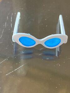VINTAGE Barbie Doll Cat Eye White Sunglasses Blue Lenses ORIGINAL