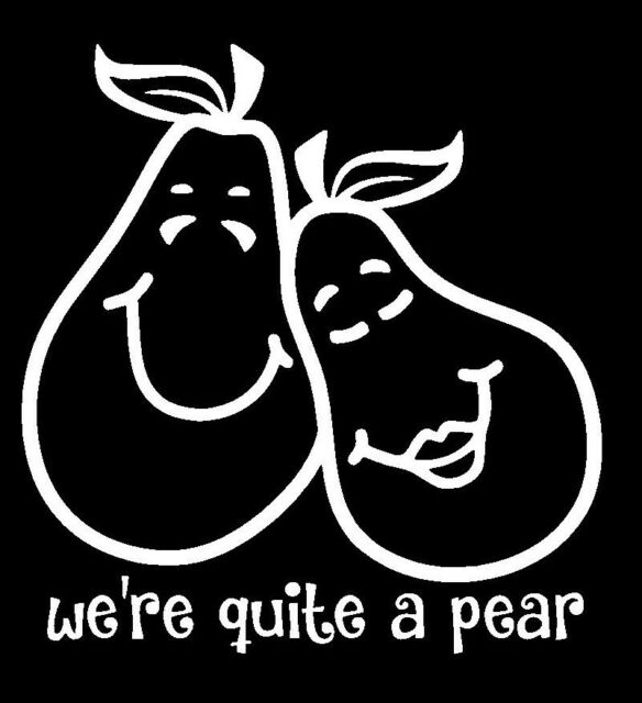 Cute Pear Stick Family  Vinyl Car Decal - Car Decals, Window Decal Funny Couple