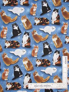 Kitty-Cat-Kitten-Toss-Blue-Cotton-Fabric-Wilmington-80154-Feline-Fine-Yard