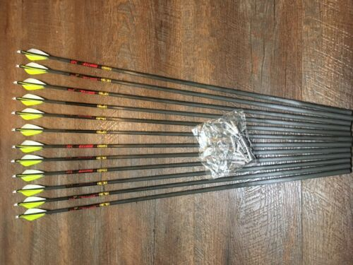 Gold Tip Hunter 300 Arrows With Parabolic Feathers Custom Made Set of 12