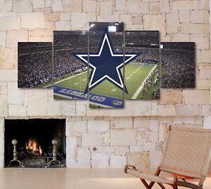 Details About Large Five Piece Dallas Cowboys Stadium Canvas Print Wall Art NFL Home Decor
