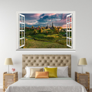 3D Meadow White Clouds Sky 044 Open Windows WallPaper Murals Wall Print AJ Jenny
