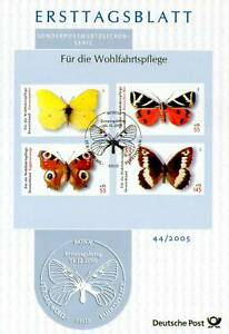 BRD-2005-Schmetterlinge-Wohlfahrt-Ersttagsblatt-Nr-2500-2503-Bonner-Stempel