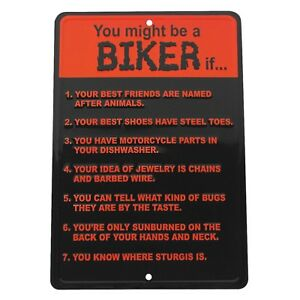Biker Rules Funny Metal Sign US Made Novelty Garage Man Cave Bar Pub Wall Decor