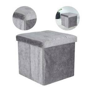 Velvet-Storage-Box-Pouffe-Seat-Stool-Home-Chair-Footstool-Storage-Bench